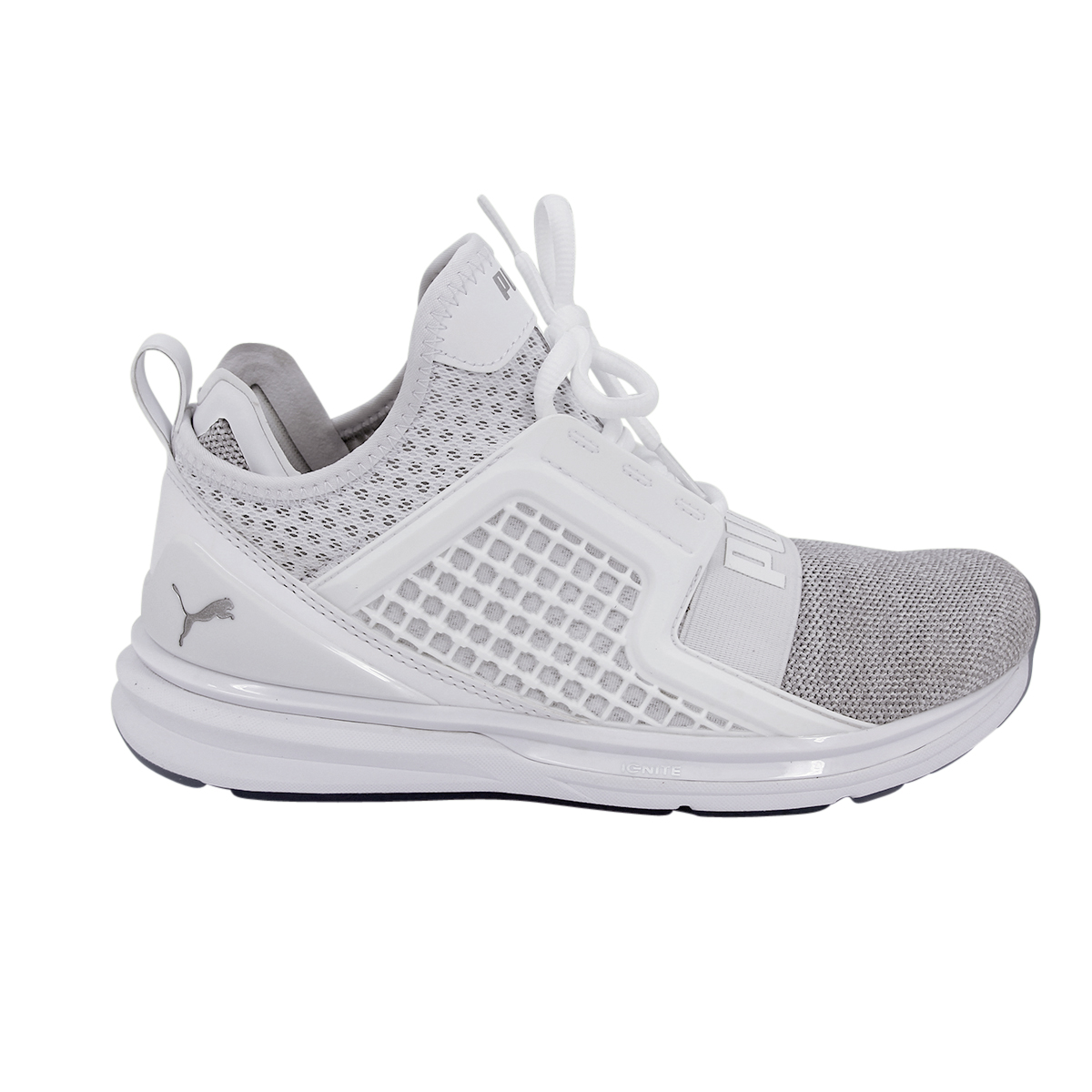 9741cd3e919274 PUMA Ignite Limitless Knit White Silver Men Running Shoes Trainers 18998705  UK 8. About this product. Picture 1 of 12 ...