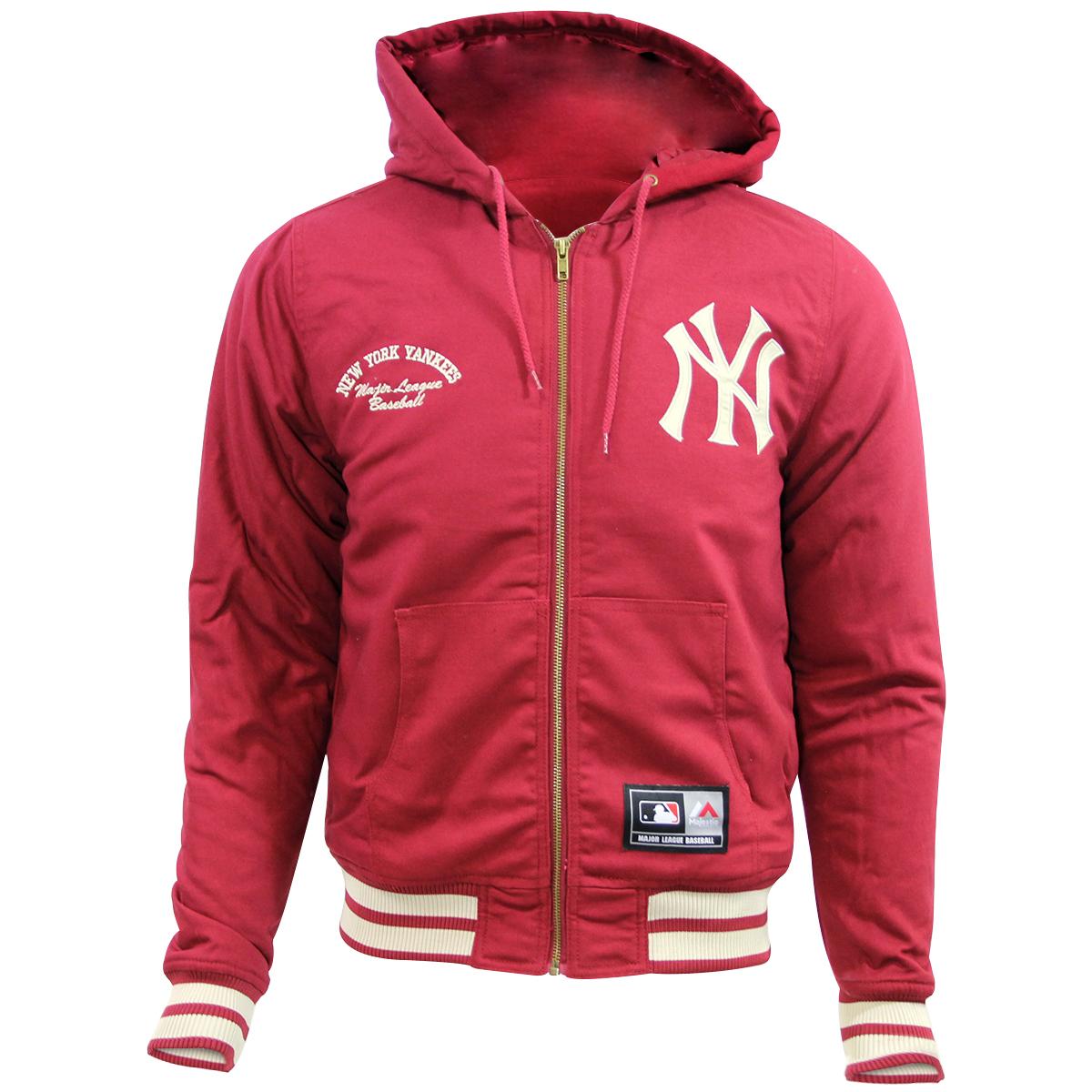 watch 98475 1d13d Details about Majestic DEERING NEW YORK YANKEE HOODIE Men Major League  Baseball Jacket